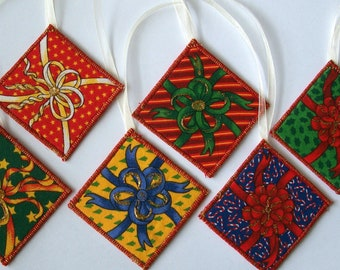 Fabric, Gift Tags, Christmas Ornaments - Set of 6 - Quiltsy Handmade
