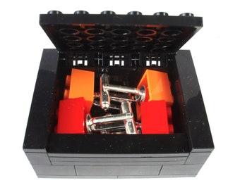 Groomsmen Gift 2 Pairs Brick Cufflinks includes Gift Box - Handmade with LEGO(r) Bricks, Wedding Cufflinks, Groomsmen Cufflinks
