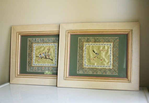 Two Vintage Framed Chinese Silk Embroideries