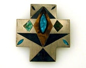 Very Rare Los Castillo Mixed Metal Turquoise Inlay Pin / Brooch 1940's
