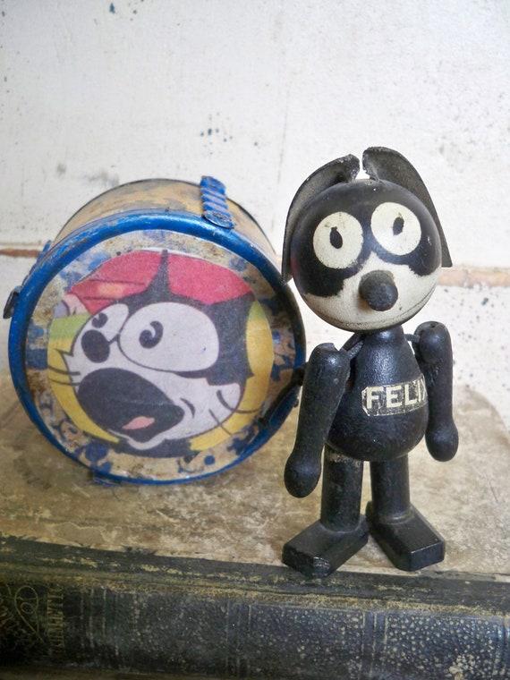 Antique 1920's SCHOENHUT Vintage Felix The Cat  Wood Toy with Felix Paper Graphics Covered Tin DRUM