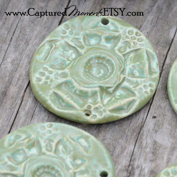 SALE Pottery Pendant Bead Carved Flower