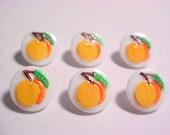Painted Fruit Glass Buttons-6pc 'Peach' Set BOB1446