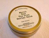 Myrrh And Tea Tree Herbal Balm   -  One Ounce   -  Antiseptic  -  Travel Tin  -  All Natural Skin Balm  -  Handcrafted