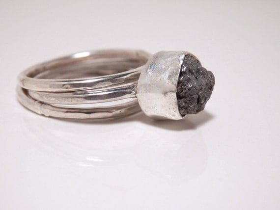 RESERVED for Katye: Sterling silver and dark grey conflict free rough diamond stacking set