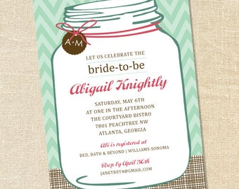 Sweet Wishes Southern Mason Jar Bridal Shower Invitations - PRINTED - Digital File Also Available