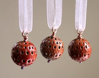 Miniature Handmade Christmas Ornaments - Torch Fired Enamel - Ready to Ship
