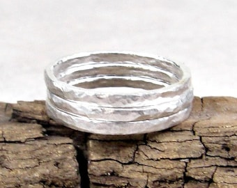 Stacking Rings Hammered Fine Silver 14G, Simple Silver Ring, Eco Friendly Jewelry Gifts for Her