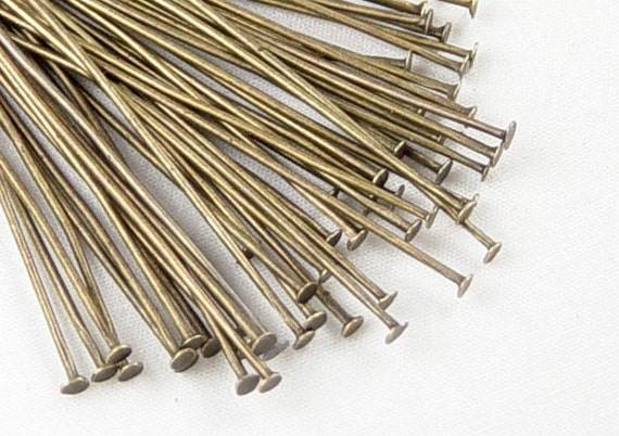 Bronze Head Pins 50 Antique Bronze Headpins 2 inch (50mm) 21 gauge NF (1041pin50z1) ... last remaining packages