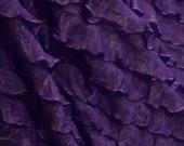 "Remnant small dark purple ruffle nylon spandex stretch fabric 1/2 Yard (18x52"")"