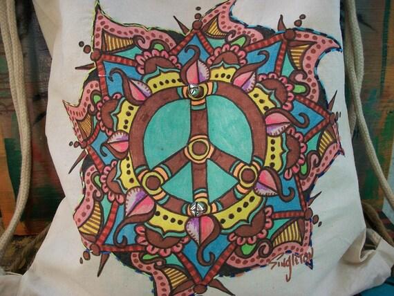Hippie Festival Backpack Bag, A Singleton Hippie Art  Mandala of Peace Bag