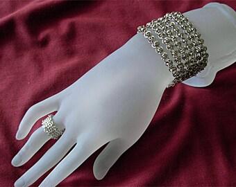 Liquid metal multi strands cuff bracelet