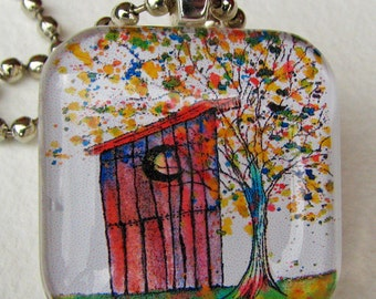 Outhouse Tree, glass tile, ART pendant, necklace