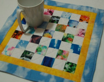 Quilted One of a Kind Table Topper, Snack Mat Candle Mat Mug Rug- Scrappy Nature
