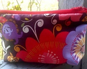 READY TO SHIP Brown Abstract Flowers Cosmetic Makeup Bag