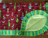 Red and Green Flannel...Grinch Christmas Blanket - HUGE FLANNEL  and MINKY Blanket