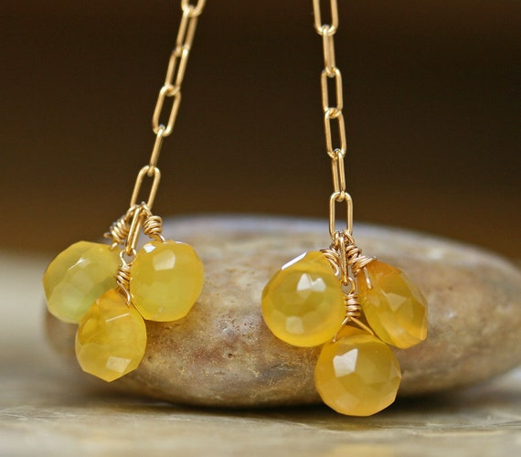 Chalcedony Earrings, Yellow Stone Earrings, Chalcedony Jewelry, Colorful Jewelry, Sparkly Earrings, Long Earrings, Dangle Earrings
