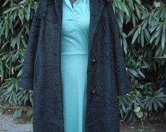 Vintage 1950s/60sCoat, Classic Black Full Length Wool Coat, Black  Coat