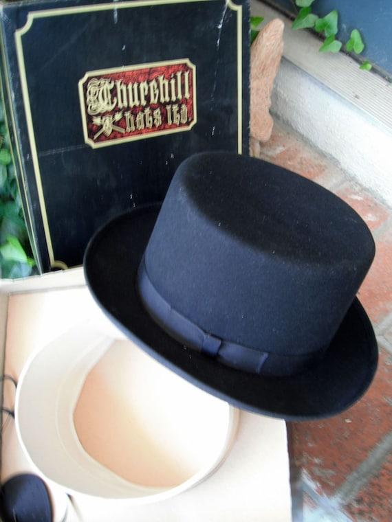 Men's Black Churchill Top Hat // Magician's Hat // HALLOWEEN  COSTUME //  HAT with Eye Patch // Tuxedo Hat