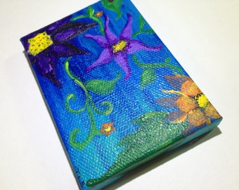 "In the Night Garden"" Tiny Canvas painting 3.5"" x 2.5"""