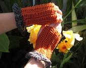 On Clearance Handmade Crochet Fingerless Gloves Pumpkin Spice