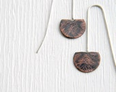 Textured Copper - handmade oxidized copper and sterling silver organic look earrings