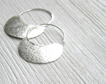 Little Urban Hoops -  handmade sterling silver organic look hoop earrings, textured and domed, made in Italy