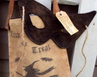 Vintage Trick or Treat Bag with Mask Door Hanger