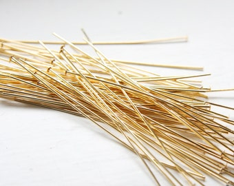100pcs Gold Tone Brass Base Head Pins-76mm (3 Inch) (XL) (I-360)