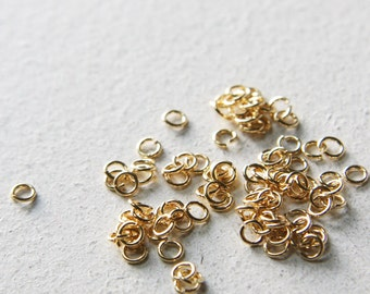 100pcs Bright Gold Plated Brass Base Jump Rings-4mm (21 Gauge) (327C-I-55)