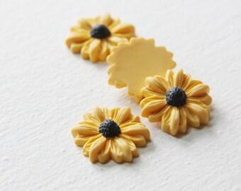 8pcs Acrylic Flower Cabochons-Yellow 22mm (26F3)