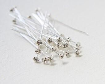 12pcs Swarovski Rhinestone Head Pins -Crystal Silver PP24 (SW11771001001)