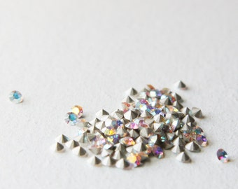 24pcs Swarovski 1028 Chaton Pointed Back Rhinestones-Foiled Crystal AB PP24 (SW241001) D