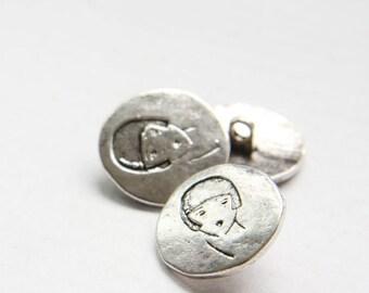 8pcs Oxidized Silver Tone Base Metal Charms-Button 20mm (14549Z-O-37A)