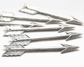 6 Pieces Oxidized Silver Base Metal Charm - Cupid's Arrow 54x11mm (17681Y-O-106A)