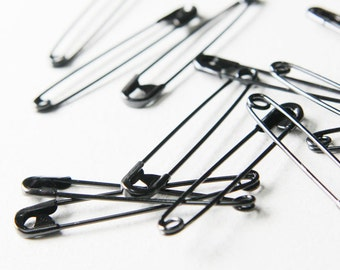 40pcs Black Mild Steel Metal Safety Pins - 50mm (K-232)