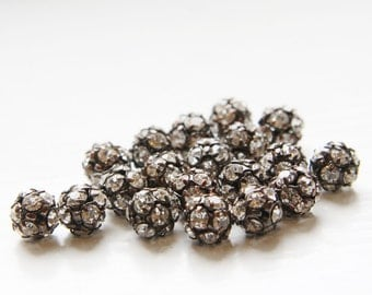 4pcs Czech Antique Copper Tone Base Metal  Rhinestone Balls - Crystal 8mm (1095)