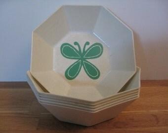 Set of 6 Vintage Melamine Octagon Bowls