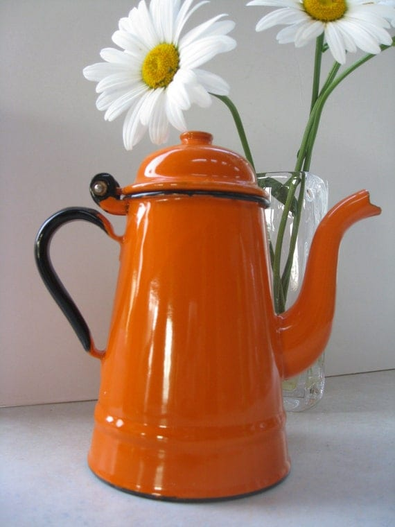RESERVED for Sharon Retro Orange Enamelware Coffee Pot