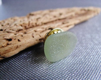 Mens Gift - Sea Glass Tie Tack - Soft Green Beach Glass Tie Tack
