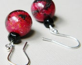 Red Turtle Jasper Black Dangle - Irenic Handmade Earrings