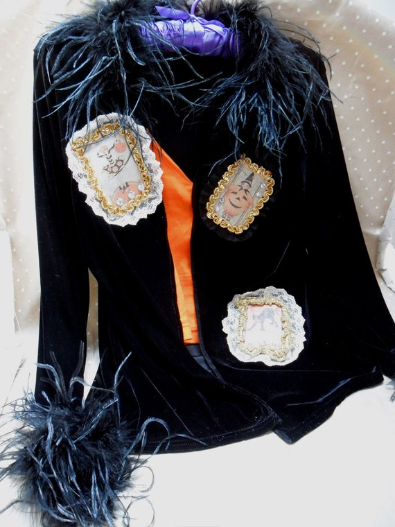 Cute Black Velvet Halloween Jacket - Vintage Make Over