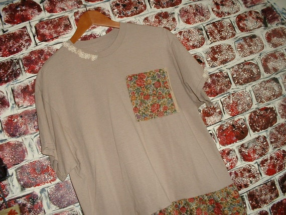 """Handmade Tan Tee Shirt Dress, Tattered, Upcycled, Recycled, Mori Girl, Floral, Size XL, from """"Pretty in Plus"""""""