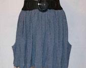SALE small stripe pocket skirt, blue stripe, full skirt, elastic waist, handmade, stacylynnc