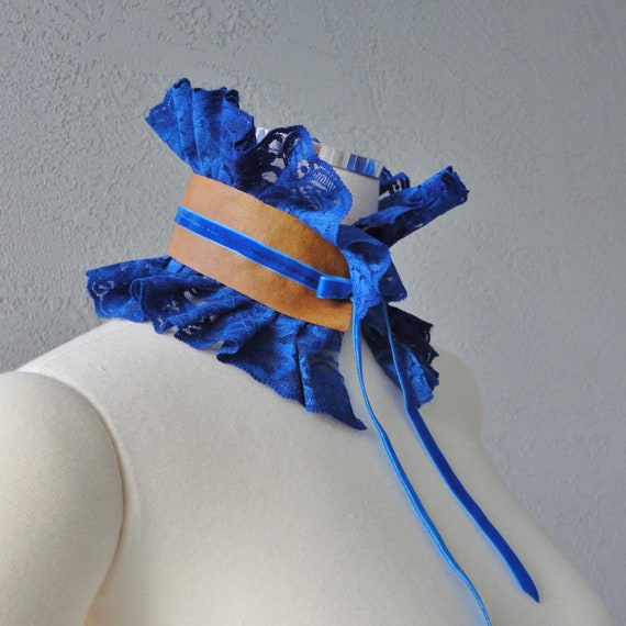 Victorian Inspired Royal Blue Lace Leather And Velvet Ribbon Ruffle Collar Necklace Cowl Statement Piece