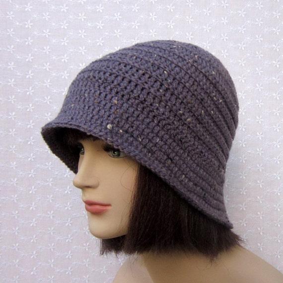 Purple Tweed Crochet Hat - Womens Cloche - Ladies Flapper Hat