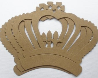 """MAJESTIC CROWN - Bare Chipboard Die Cuts - Royal Regal Alterable Shapes - 4 7/8"""" x 4"""""""