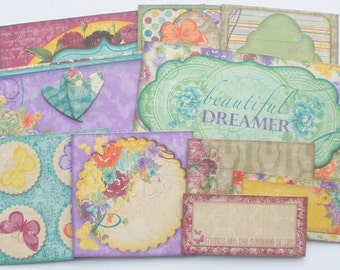 BEAUTiFUL DREAMER - Journal Cards - Chipboard Die Cuts -  Whimsical Pictures, Journaling Spots & Quote Embellishments - 12 Pieces