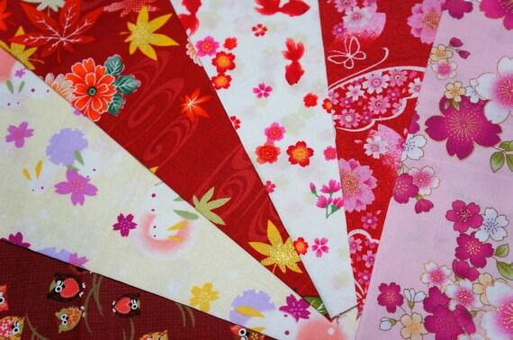 Japanese Fabric Kimono Fabric Scrap 6 Pieces VC22