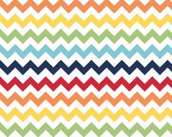One (1) Yard-Riley Blake Small Sized Chevrons Rainbow Quilter's Cotton Fabric C340-01 RAINBOW